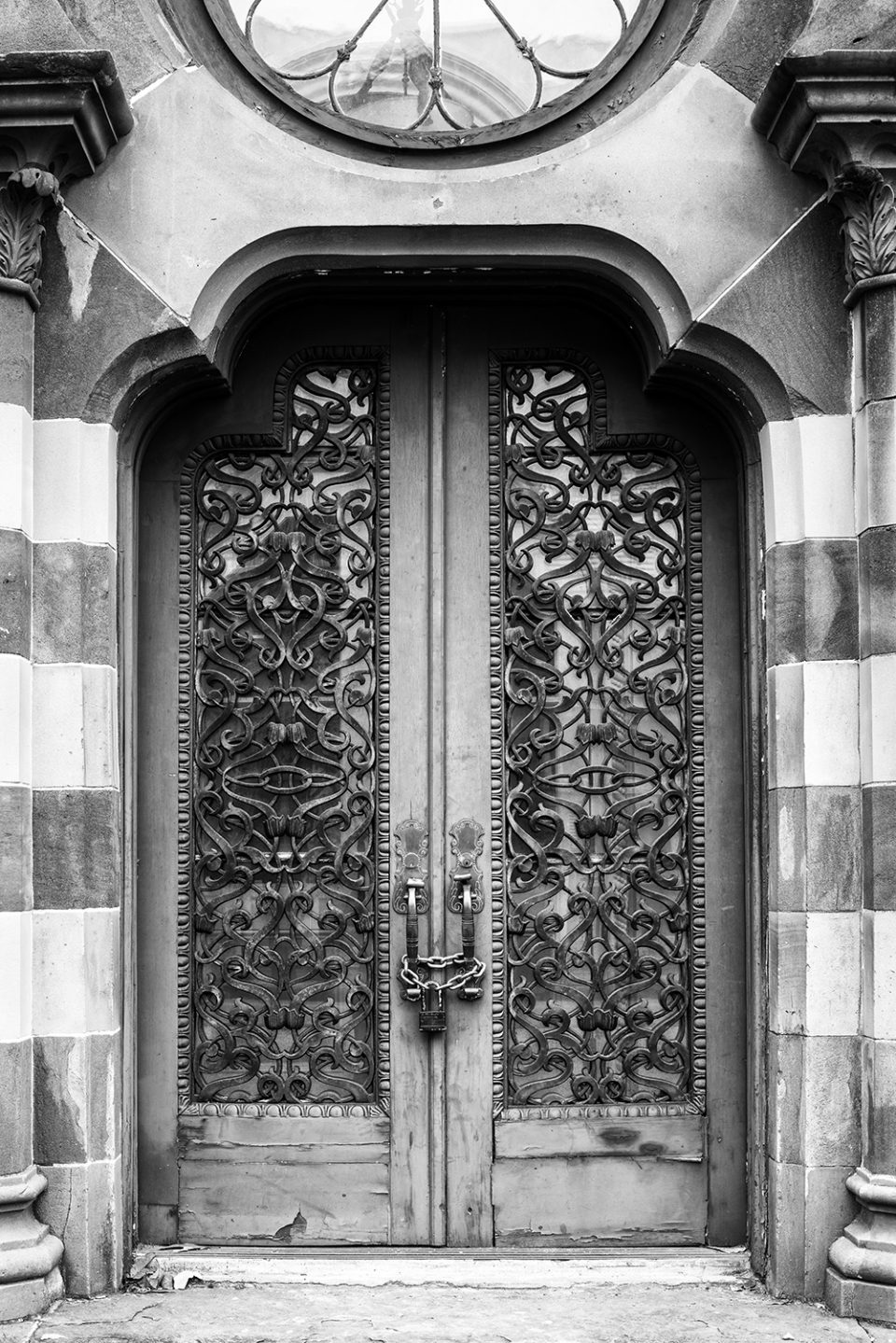 Front Doors of Old Farmers and Exchange Bank in Charleston, black and white photograph by Keith Dotson. Available in sizes up to 40 x 60 inches. Buy a fine art print here.