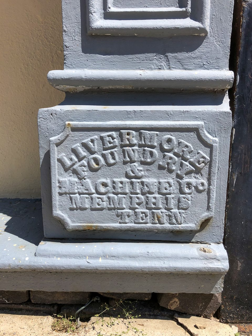 Nameplate for Livermore Foundry and Machine Co., of Memphis, Tennessee, seen in Yazoo City.