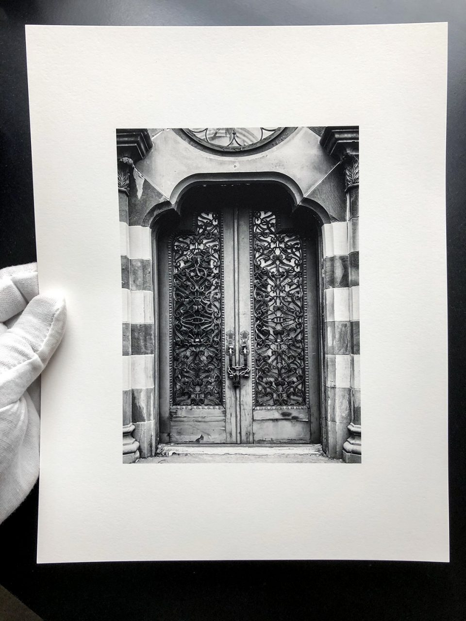 iPhone photograph of an actual 5x7-inch print on baryta surface fine art paper.