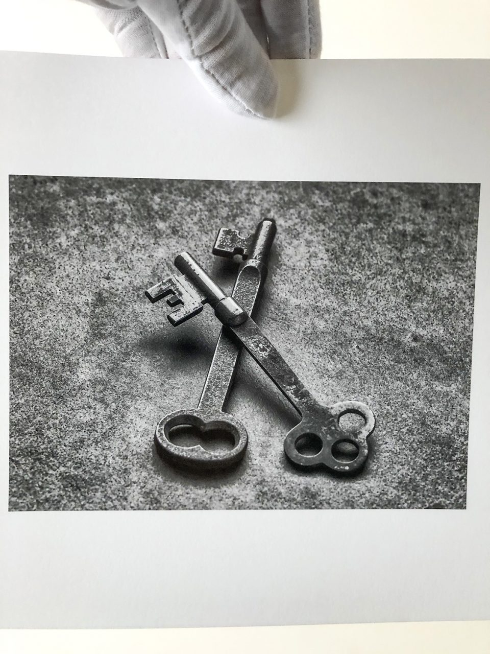 Fine art print of antique keys printed 5 x 7-inches on baryta surface fine art paper.