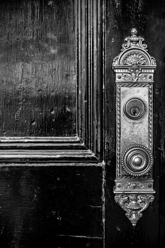 Black Door with Ornate Door Knob - Vanderbilt University in Nashville, black and white photograph by Keith Dotson.  Buy a fine art print here.