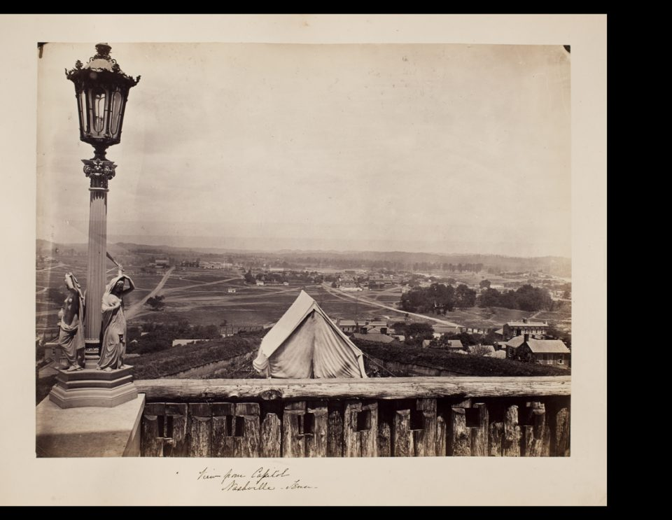 """The Lady of the Falls can also be seen in this 1865 photograph, """"View from Capitol. Nashville, Tennessee,"""" by George Barnard. Albumen print. George Eastman House flickr account."""