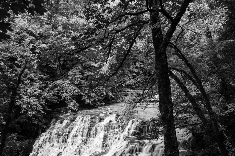 Rutledge Falls, black and white photograph by Keith Dotson.