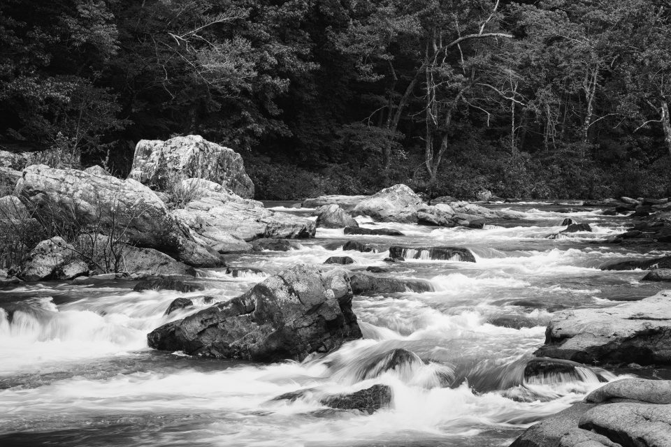 Rocks and River Rapids - Black and White Landscape Photograph by Keith Dotson. Buy a fine art print.
