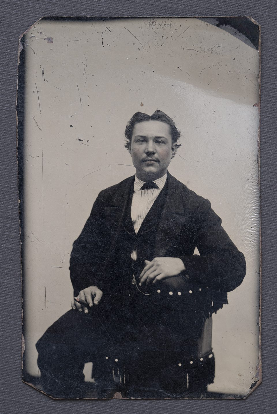 Tintype portrait of a young man: date, location, and identity unknown. Copy photograph by Keith Dotson.