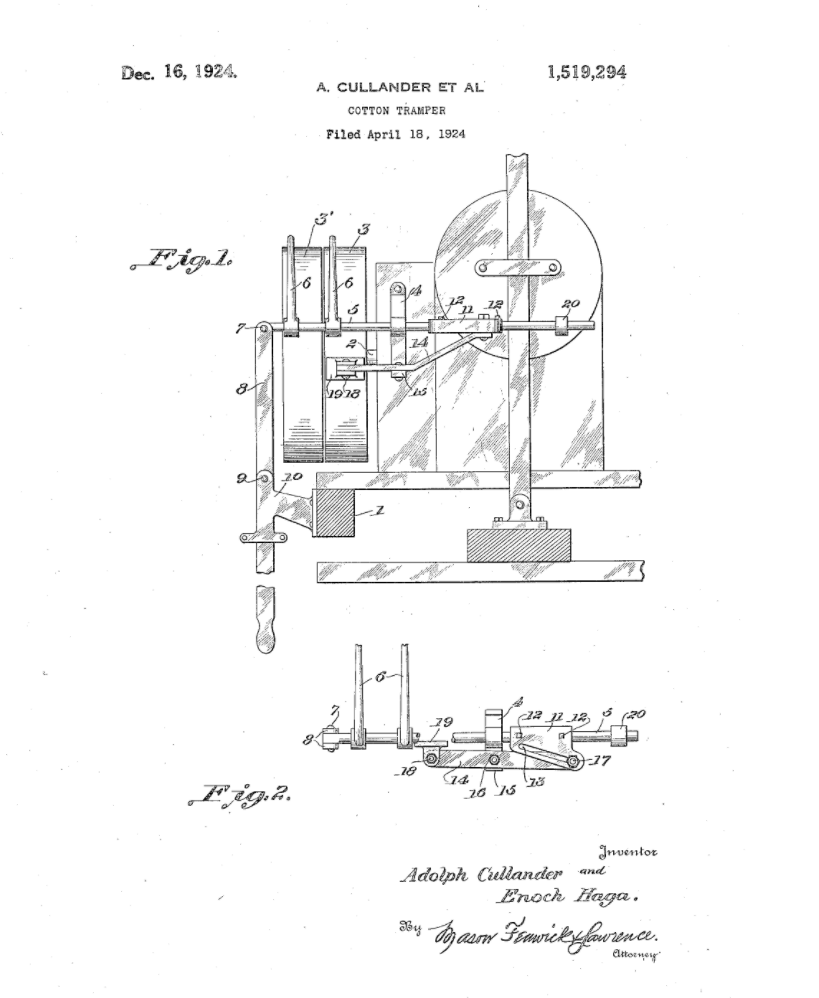 The actual drawings from Adolph Cullander's 1924 patent application for a cotton tramper.