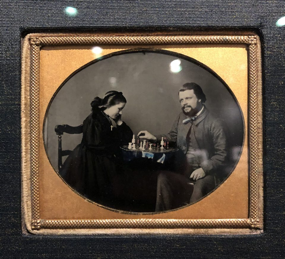 Close-up image of an 1860 Ambrotype made by an unknown photographer. Ambrotypes were imaged onto glass, then mounted onto a black backing to create the darks. They are more rare than tintypes.