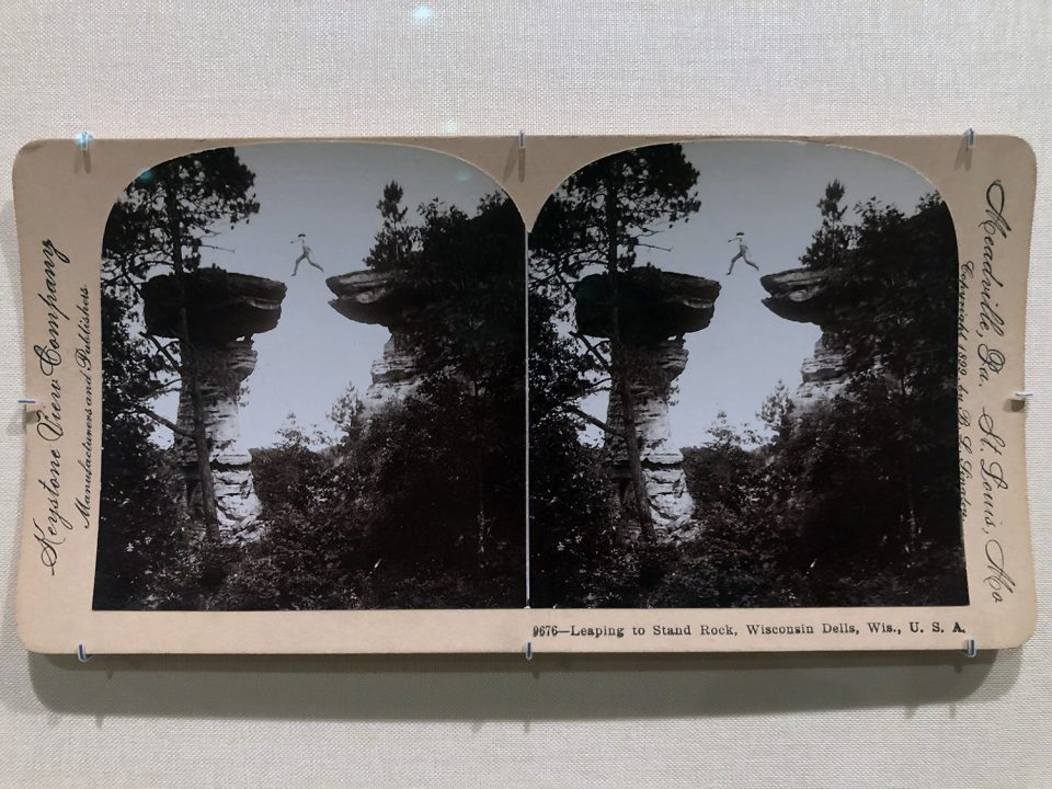 """Stereograph made in 1899 by Benneville Lloyd Singley, """"Leaping to Standing Rock, Wisconsin Dells, Wis., U.S.A."""" Gelatin Silver prints. I always wonder if the jumper made it. It looks like there wasn't enough air for a successful landing."""