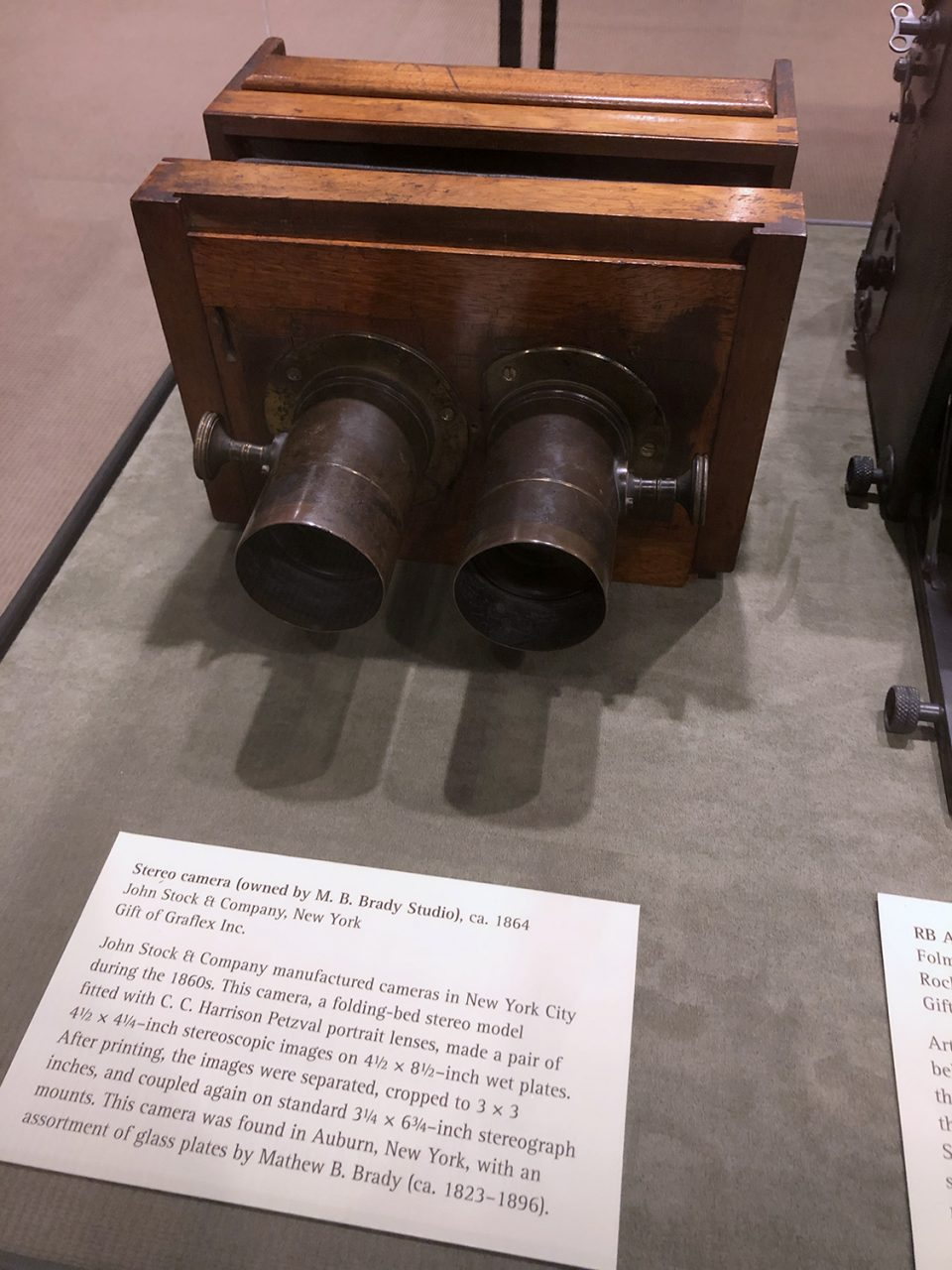 Stereo camera once owned by famed photographer Mathew Brady.