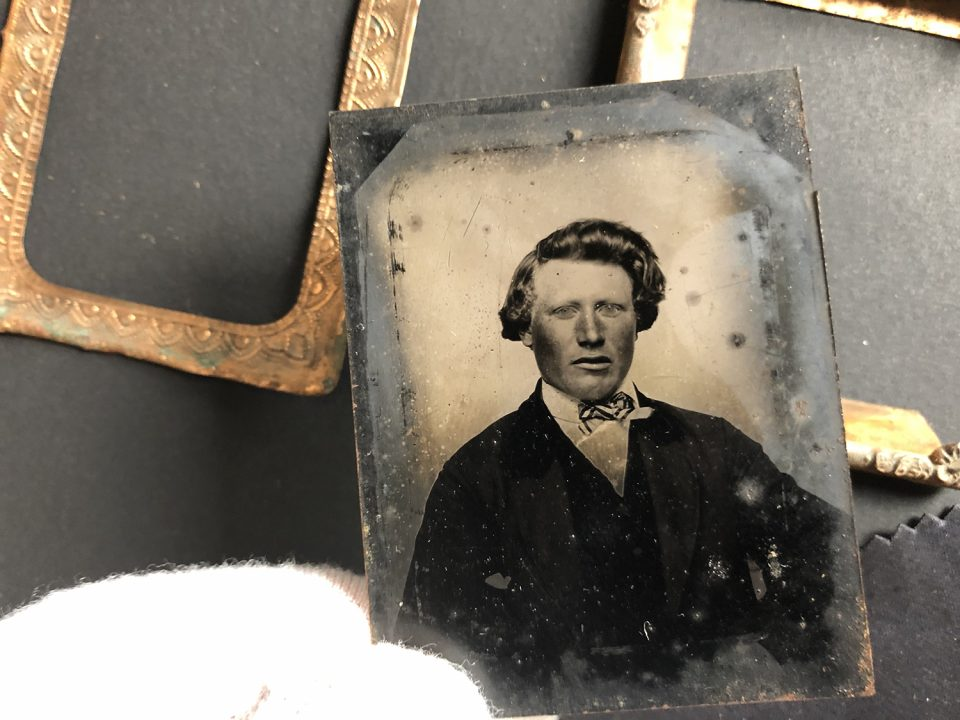 Tintype portrait of a man made in the late 1850s or early 1860s. I gently cleaned the easily removable dust from the surface with a squeeze blower and a soft cloth. I had hoped the print would be in better condition since it had been in the frame all these years.