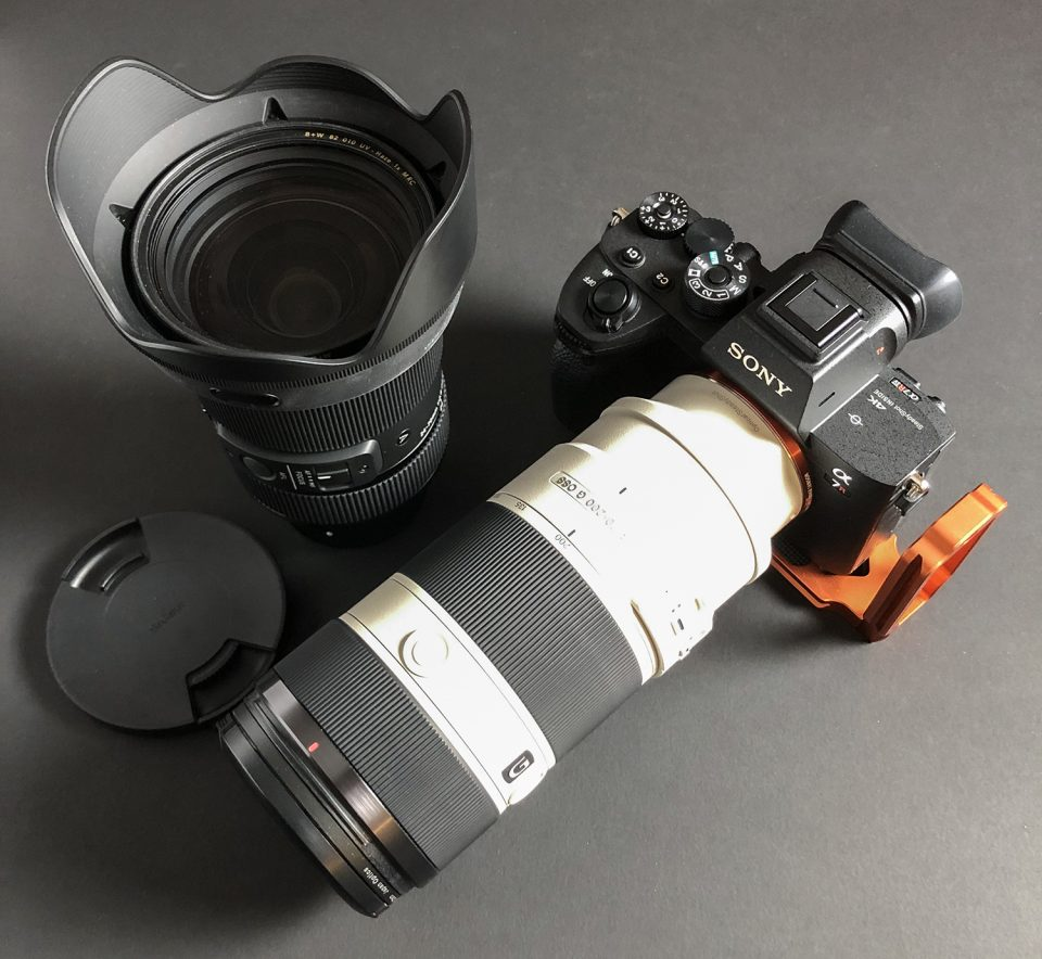 My primary camera and lenses: Sony A7RIV with a Sony 70-200mm lens and a Sigma 24-70mm lens.