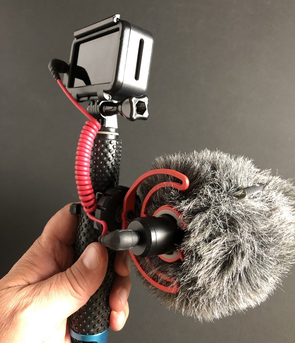 Here's my easy-to-use but remarkably capable video rig, used for making YouTube videos during photo trips. DJI Osmo Action Camera with a Røde Video Micro, supported by a floating selfie stick with a standard Go-Pro connector.