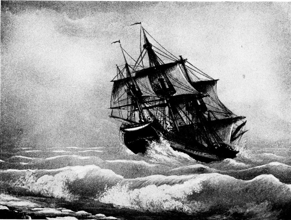 The Volusia. Illustration from the bookLonely ships and lonely seasby Ralph Paine. From a painting in Marine Room, Peabody Museum, Salem. Published by The Century co., New York, 1921. (First published as individual true sea-stories inCenturymagazine between 1920-21.) Courtesy of Wikisource. Public domain.
