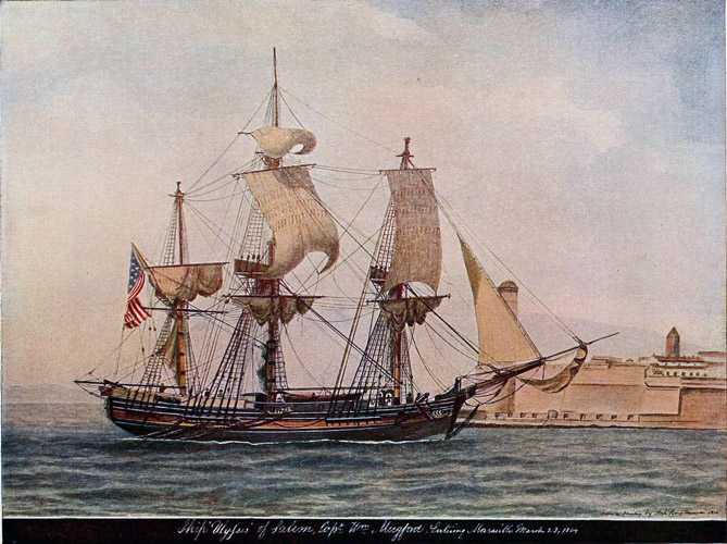 This is the ship Ulysses, built in 1794, one of the three ships lost in the snow storm of 1802. Courtesy of Historic Ipswich.