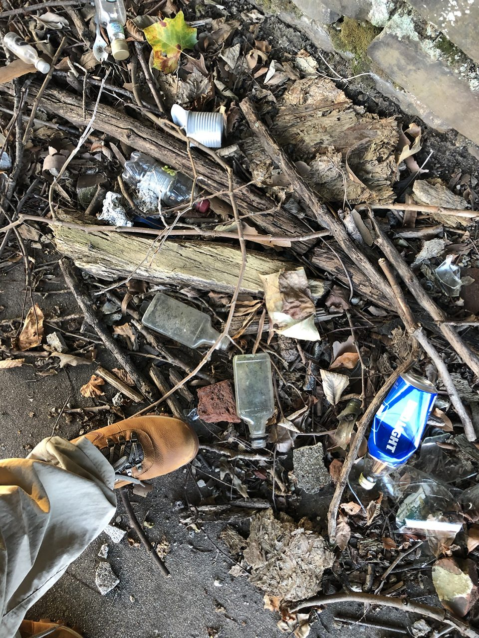 That's my foot on the sidewalk near an abandoned mill building in Virginia, surrounded by discarded liquor bottles and detritus.