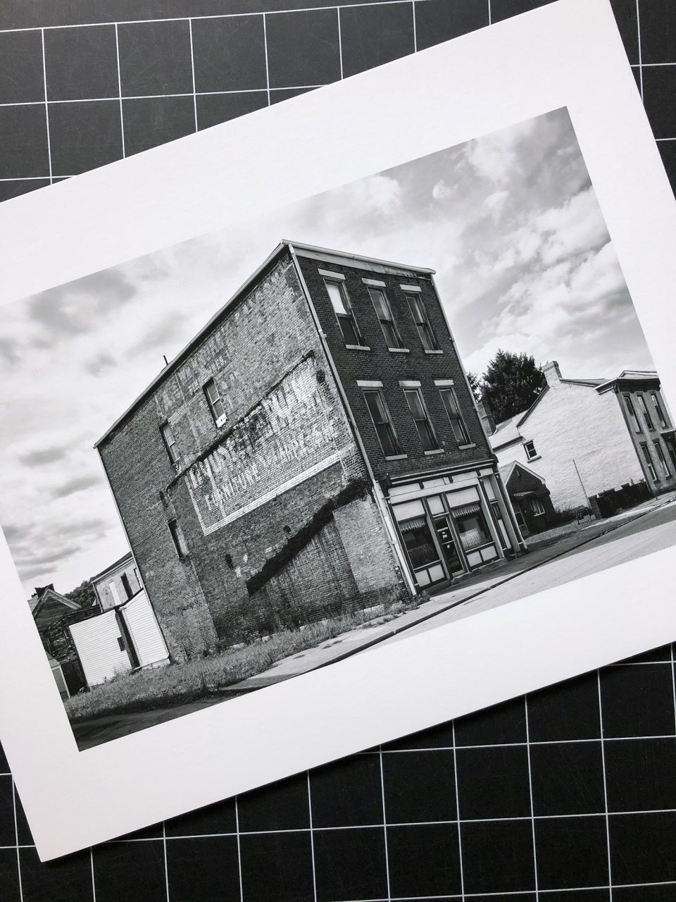 A black and white photograph printed on Arches 88 photo paper